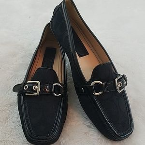 Coach Stacie Size 8 Signature Black Driving Loafer
